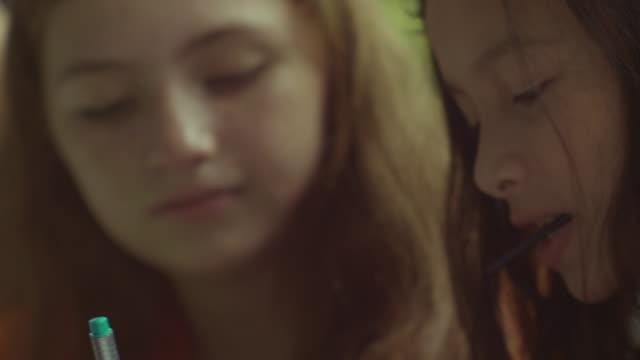 Close of two friends schoolgirls.