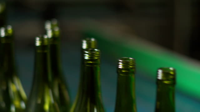 Close shot of Wine bottles in bottling factory video