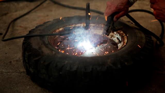 Close Shot Wheel Repair. Welding Parts video