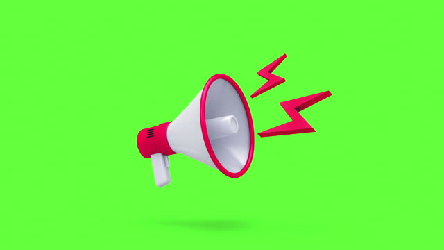 Close up 3D Megaphone animations pack Close up 3D Megaphone animations pack, sign and symbol marketing concept, isolated on green screen background alertness stock videos & royalty-free footage
