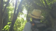 istock Close up asian female tourist wearing straw hat and backpack is taking picture with mobile phone in tropical rain forest under sunlight in the morning. 1256645017