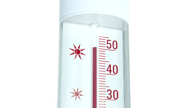 Close up at thermometer shows decreasing temperature.