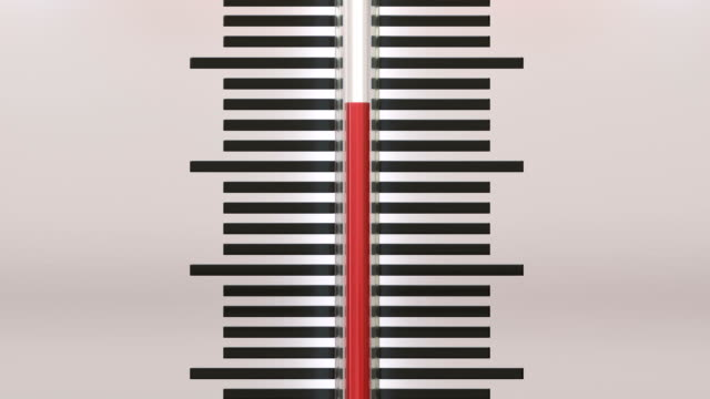 close up at thermometer with a going up temperature scale - temperatura video stock e b–roll