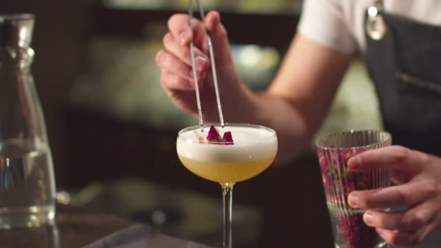 Close up, bartender puts berries with tongs in glass with alcohol Close up, bartender puts berries with tongs in glass with alcohol at the bar bartender stock videos & royalty-free footage