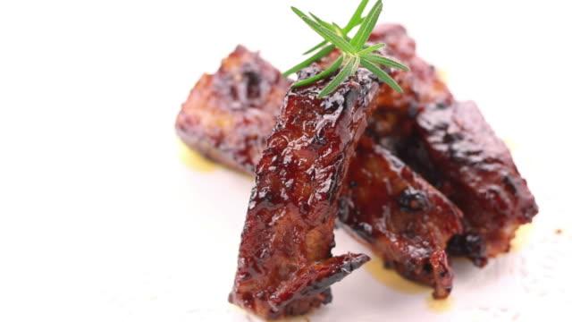 Close up BBQ pork ribs video