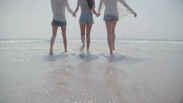 vídeos de stock e filmes b-roll de close up best friends group of young women holding hands walking to sea beach nature, friendship together happiness summertime season people travel lifestyle concept - gmail