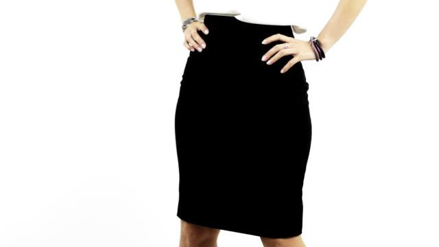 Close up business woman ass in black skirt. video