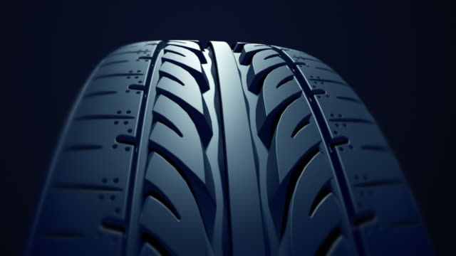 Close up car tire in slow motion video