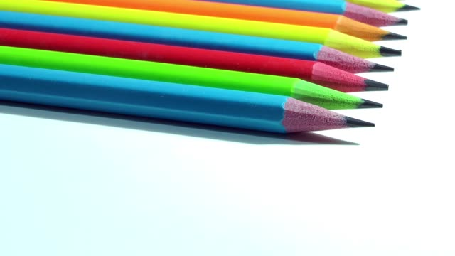 Close Up Colorful Pencil Turning video
