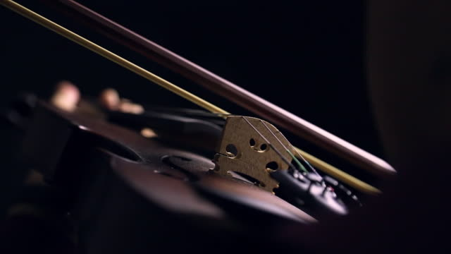 close up dust coming out from the violin and bow in the black background, lowlight, cinemagraph - orchestra video stock e b–roll