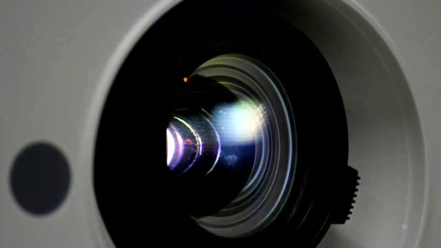 Close up  light in  projector lens. video
