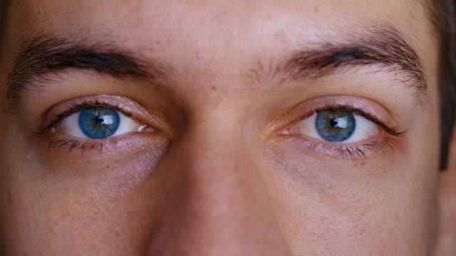 närbild macro mans blå ögon - male eyes bildbanksvideor och videomaterial från bakom kulisserna