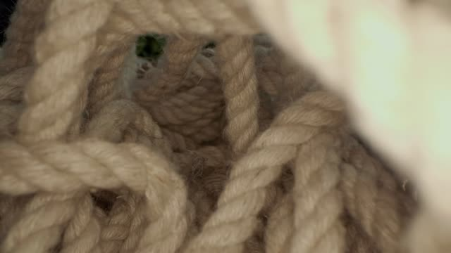 Close up macro view of the rope. View from inside the bulk of rope.