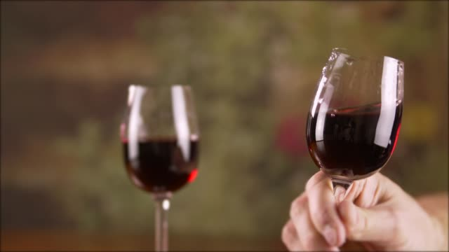 Close up male hand taking glass with red wine and stirring slow motion video
