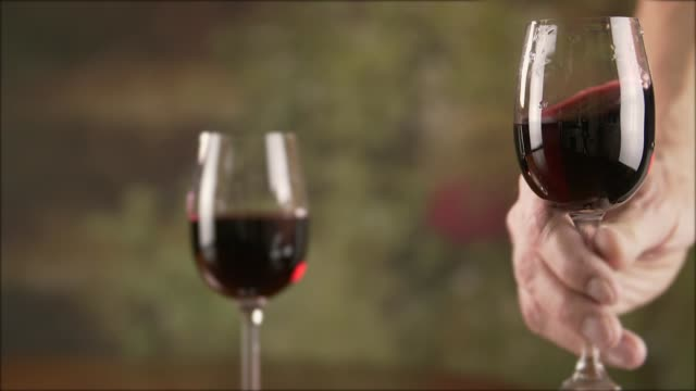 Close up man hand stirring red wine in glass before tasting slow motion video
