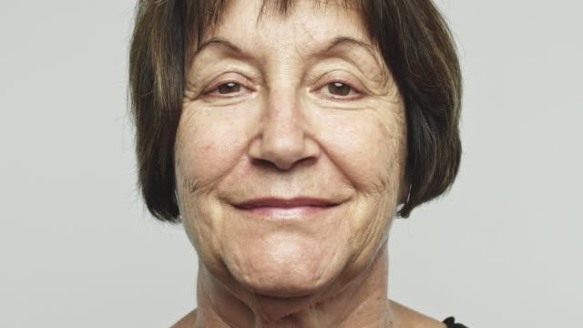 Close up mature happy woman video portrait video