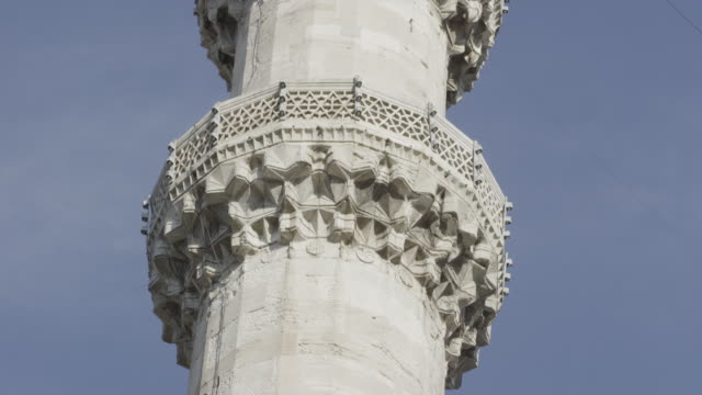 Close up minaret of Suleymaniye mosque in Istanbul, Turkey video
