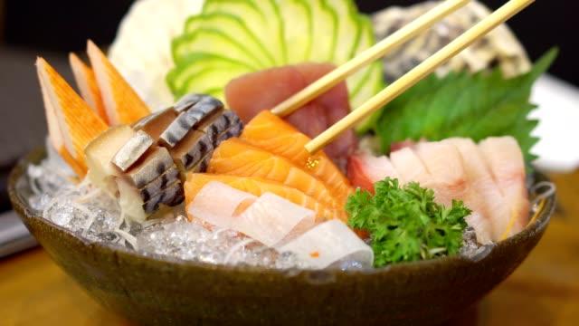 Close up, Mixed sashimi set. Japanese food. Close up, Mixed sashimi set. Japanese food. sashimi stock videos & royalty-free footage