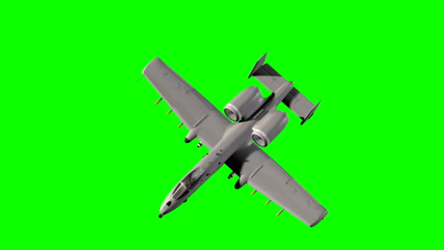 close up of a armed Thunderbolt military ground attack aircraft in flight - green screen video