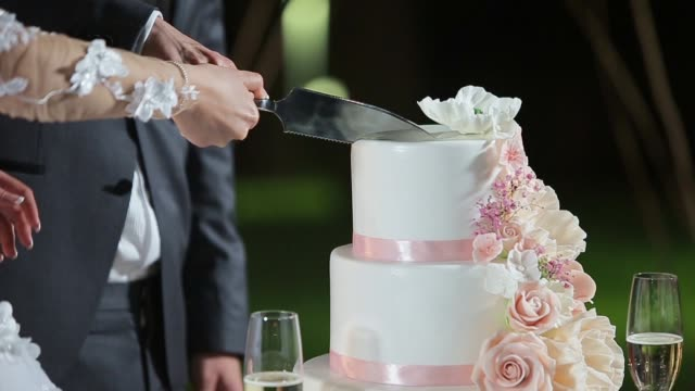 Close up of a bride and groom cutting their wedding cake.