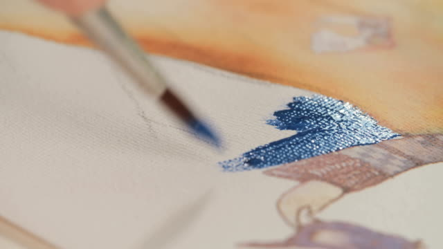 Close up of a brush painting with watercolors on paper video