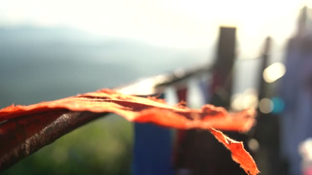 vídeos de stock e filmes b-roll de close up of a buddhist prayer flags blowing in the wind at sunrise in a temple in sri lanka. slow motion footage. shallow depth of field, - sri lanka
