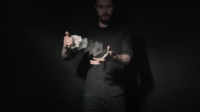Close up of a card trick video