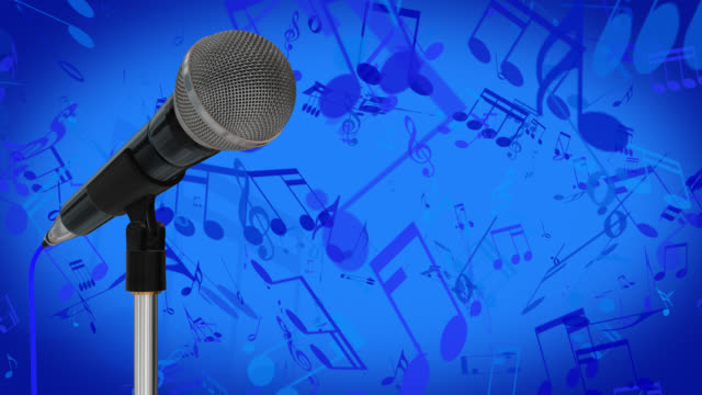 Close up of a cardioid dynamic ball head microphone on a stand turning against a blue background with music symbols and musical notes video