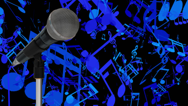 Close up of a cardioid dynamic ball head microphone on a stand turning against a blue background with music symbols and musical notes saved with alpha channel video
