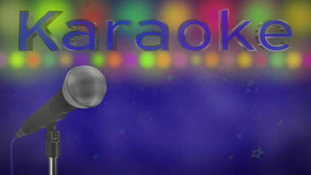 Close up of a cardioid dynamic ball head microphone turning on a stand the word karaoke is displayed in chrome 3D letters with a blue inlay there are also rows of colours representing lights, haze and star particles all on a blue background. video
