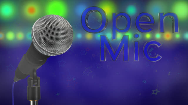 Close up of a cardioid dynamic ball head microphone turning on a stand the words open mic are displayed in chrome 3D letters with a blue inlay there are also rows of colours representing lights, haze and star particles all on a blue background. video