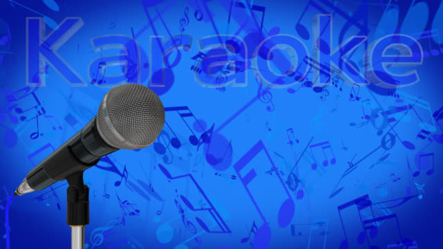 Close up of a cardioid dynamic ball head microphone turning on a stand the word karaoke is displayed in chrome 3D letters with a blue inlay on a blue background. video