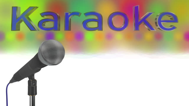 Close up of a cardioid dynamic ball head microphone turning on a stand the word karaoke is displayed in chrome 3D letters with a blue inlay there are also rows of colours representing lights and haze all on a blue background saved with alpha channel video