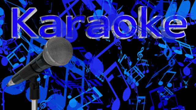 Close up of a cardioid dynamic ball head microphone turning on a stand the word karaoke is displayed in chrome 3D letters with a blue inlay saved with alpha channel video