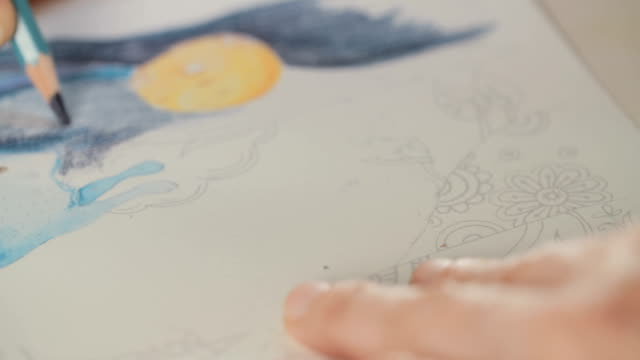 Close up of a colored pencil drawing on paper video