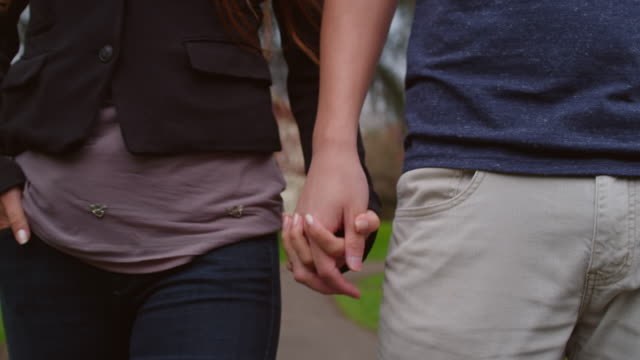 Close up of a couple holding hands and walking in the park video