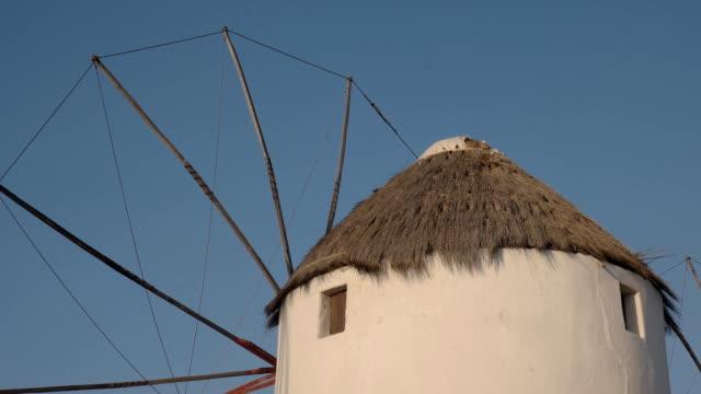 close up of a famous old windmill on mykonos, greece video