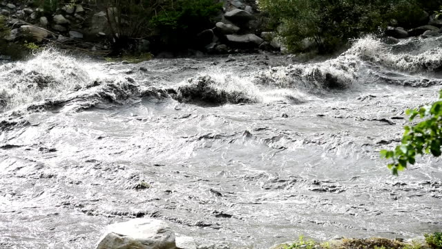 close up of a fast moving river for flood problem at Sonamarg, Kashmir India video