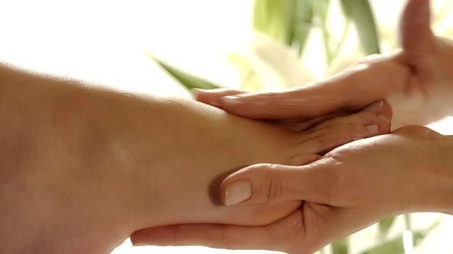 close up of a foot massage video