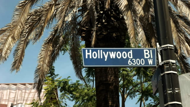 close up of a hollywood blvd sign in los angeles - viale video stock e b–roll