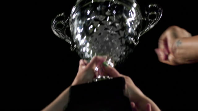 Close up of a trophy being held up high by a team video