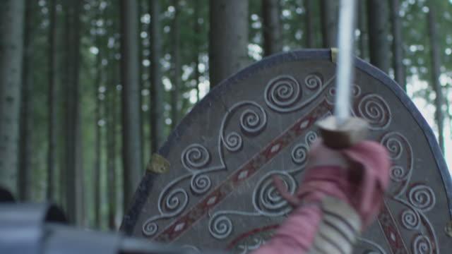 close up of a warrior fighting - stile classico romano video stock e b–roll