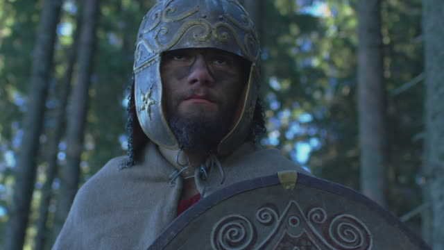 close up of a warrior with helmet - stile classico romano video stock e b–roll