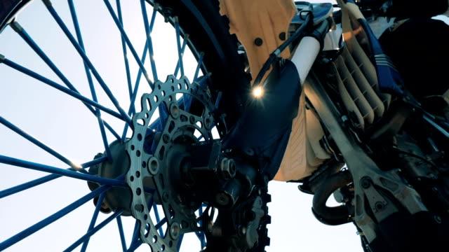 close up of a wheel of an fmx motorbike - bike tire tracks video stock e b–roll