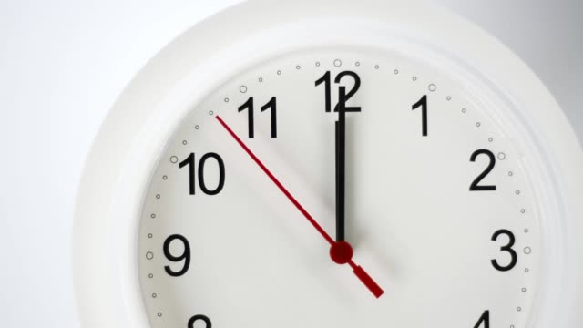 Close up of a white ticking clock, midnight video