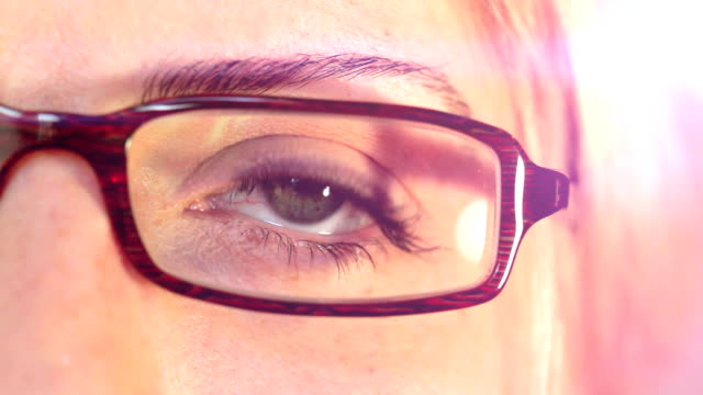 Close up of a Woman's Eye With Glasses. HD video