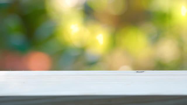 vídeos de stock e filmes b-roll de close up of a wooden balcony with abstract circular blur bokeh background - table