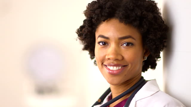 Close up of African American Nurse in hospital video