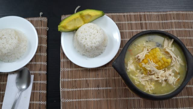 Close up of Ajiaco - Colombian typical food