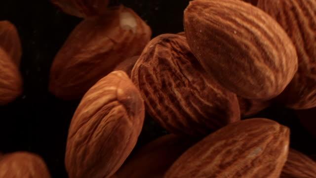 vídeos de stock e filmes b-roll de close up of almonds in the air - frutos secos
